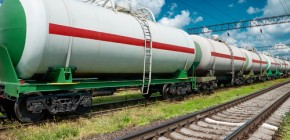 White railroad tank cars for oil and gas