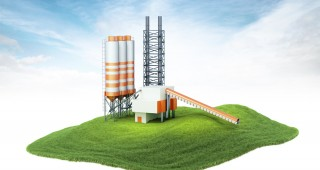 3d rendered illustration of an island with cement factory floating in the air. Isolated on white background